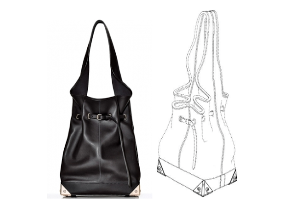 Wang's Robyn bag (left) & the drawing from his patent application (right)