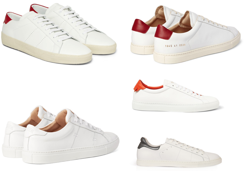 clockwise from top left: Saint Laurent, Common Projects, Givenchy, Kobi, and GREATS.
