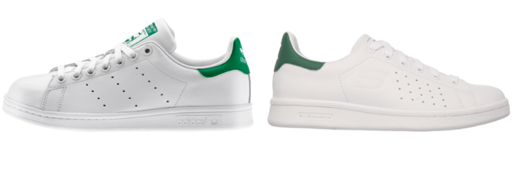 adidas Stan Smith (left) and Skechers' version (right)
