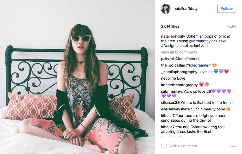 A Lord & Taylor campaign post edited to include #ad (image: @natalieoffduty Instagram)