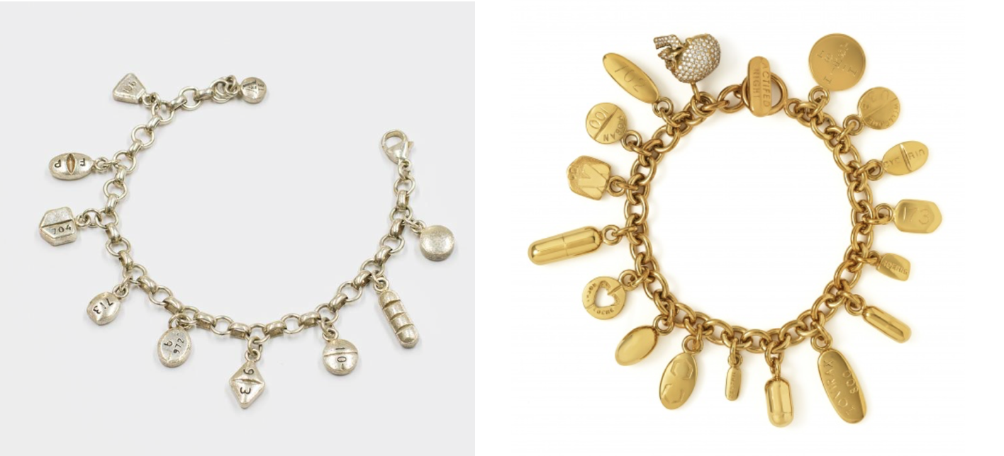 Wolstenholme's bracelet (left) & Hirst's bracelet (right)