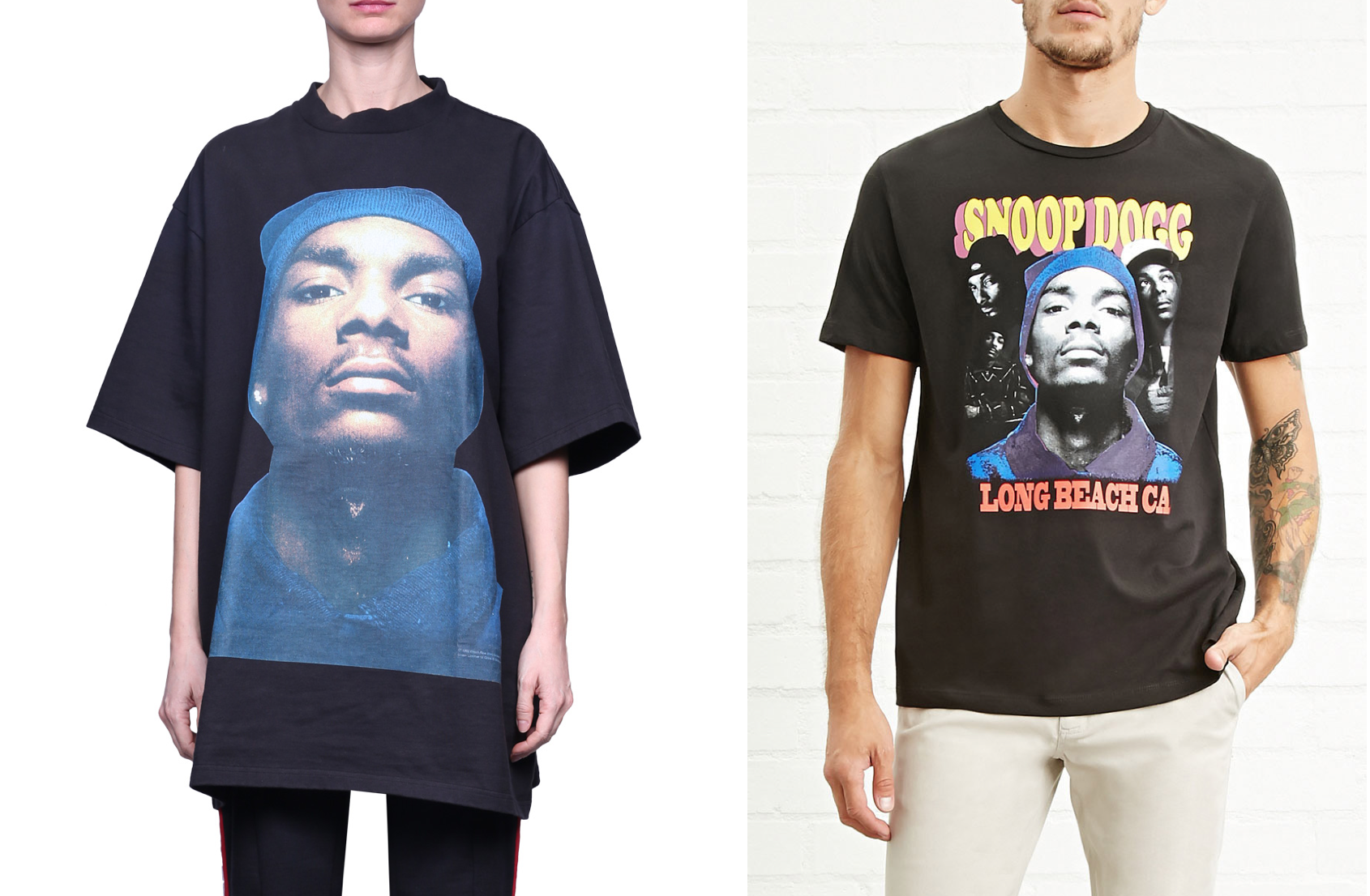 Vetements' tee (left) and Forever 21's (right)