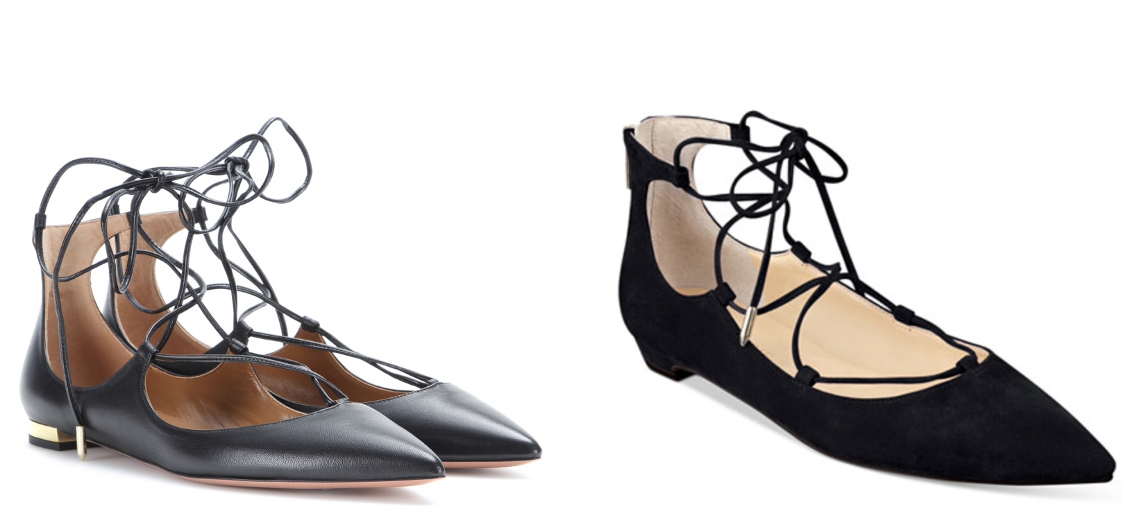 Aquazzura Christie flats (left) & Ivanka Trump's Tropica flats (right)