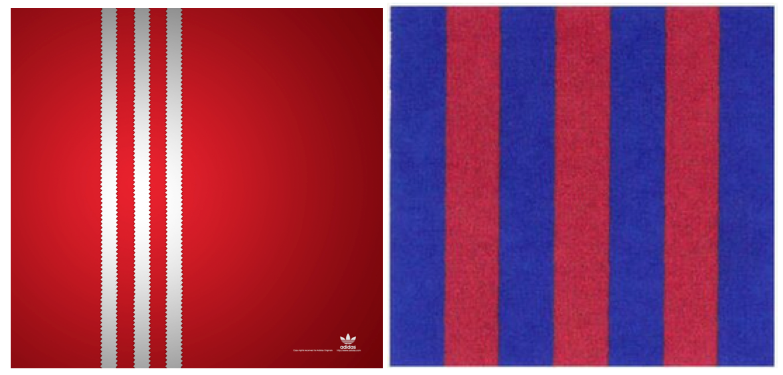adidas' Three Stripe Mark (left) & FC Barcelona's Seven Strip Mark (right)