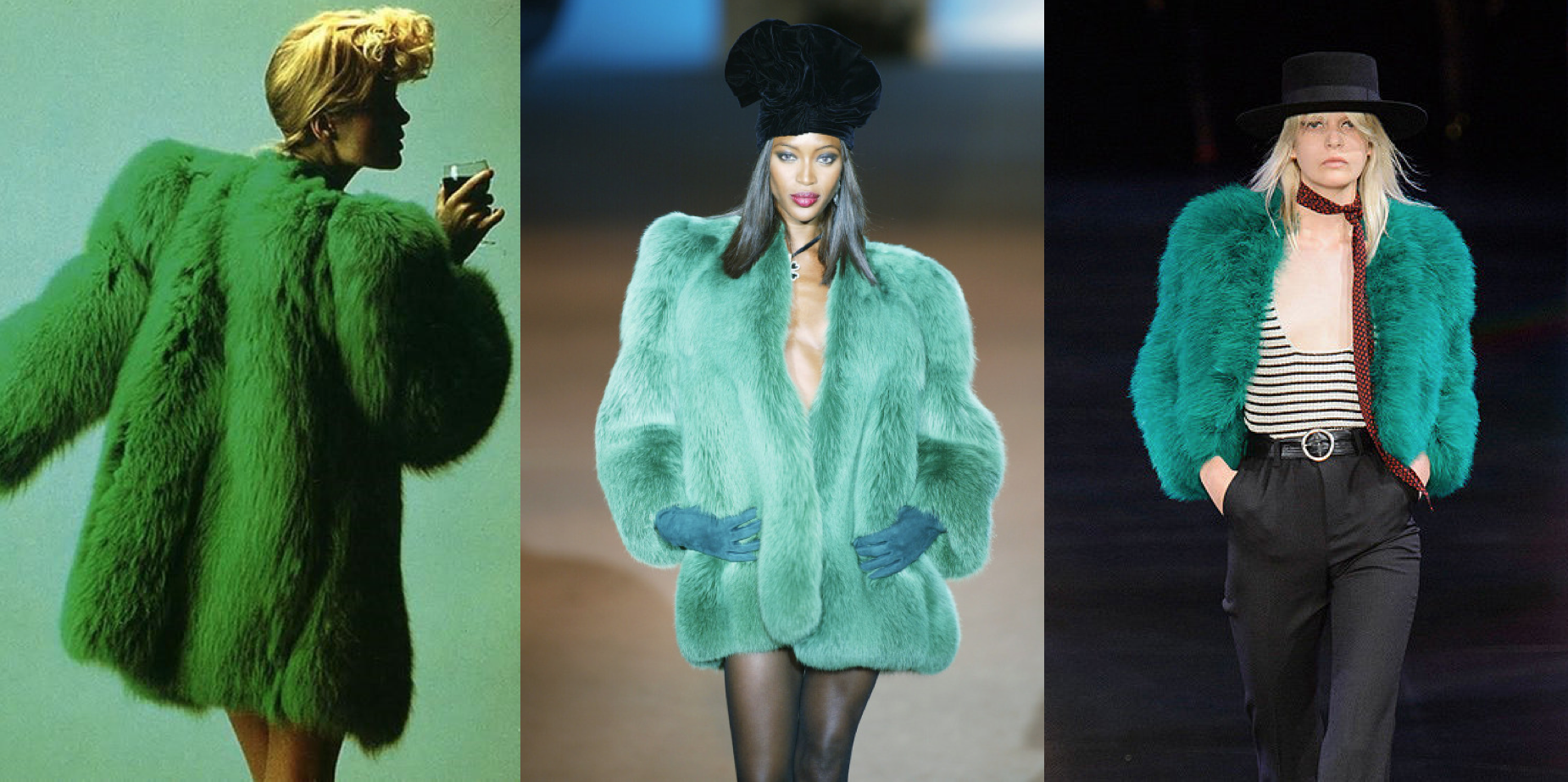 YSL 1971 (left), 2002 (center) and Spring/Summer 2015 (right)