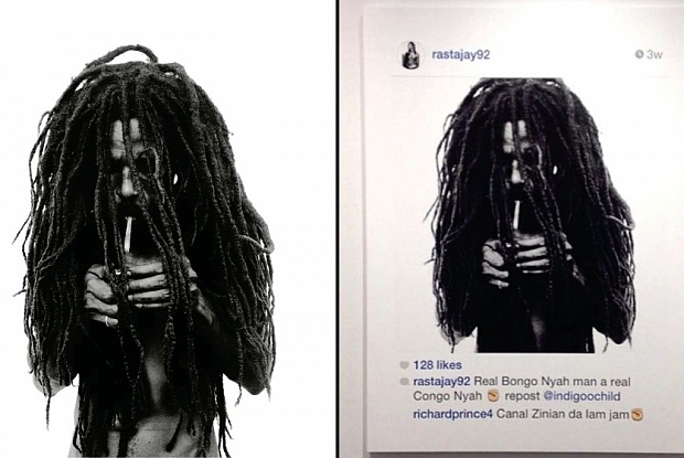 Graham's photo (left) and Prince's work (right)
