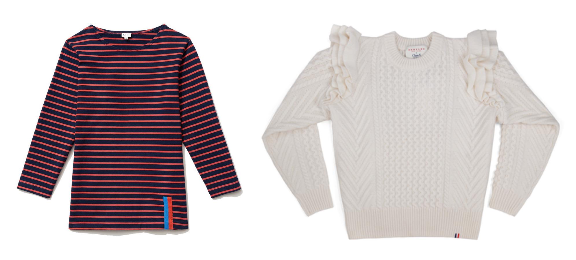 Kule shirt (left) &Claire Vivier sweater (right)