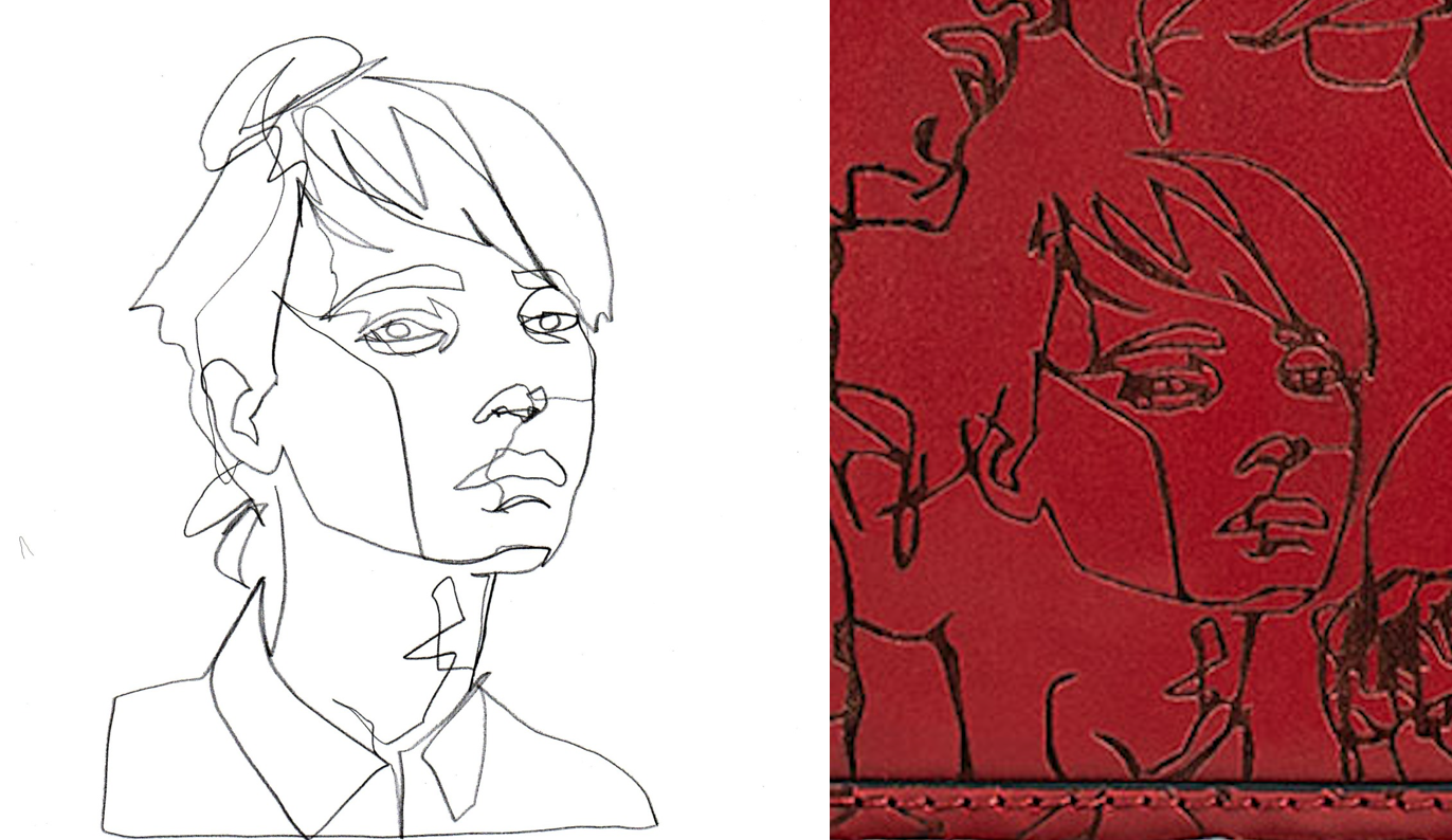 Schmitz's sketch (left) & a portion of Zara's bag (right)