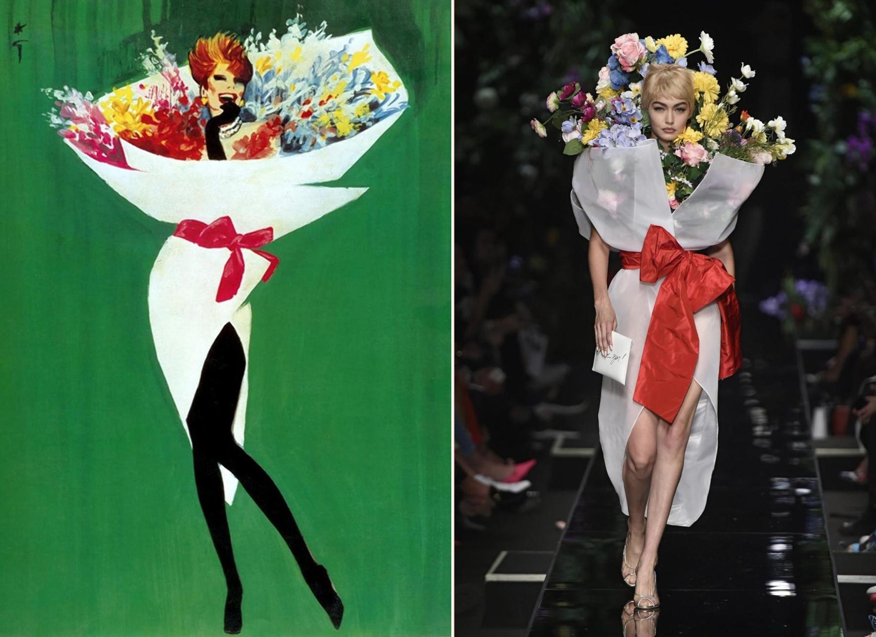 Rene Gruau's illustration (left) & Jeremy Scott's S/S 2018 Moschino (right)