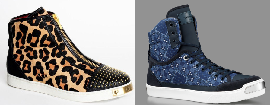 An LVL XIII shoe (left) & Louis Vuitton's On the Road sneaker (right)