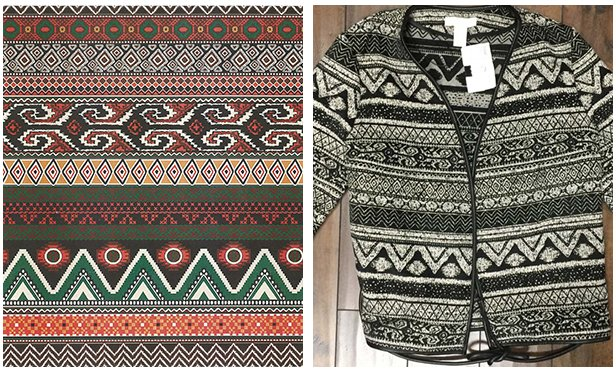Unicolors' textile print (left) & H&M's jacket (right)