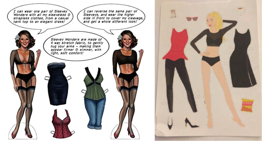 Sleevey Wonders paper dolls (left) & Spanx paper dolls (right)