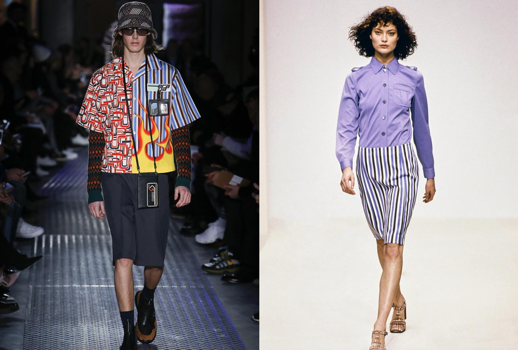 Prada F/W 2018 stripes (left) & Prada S/S 1996 (right)