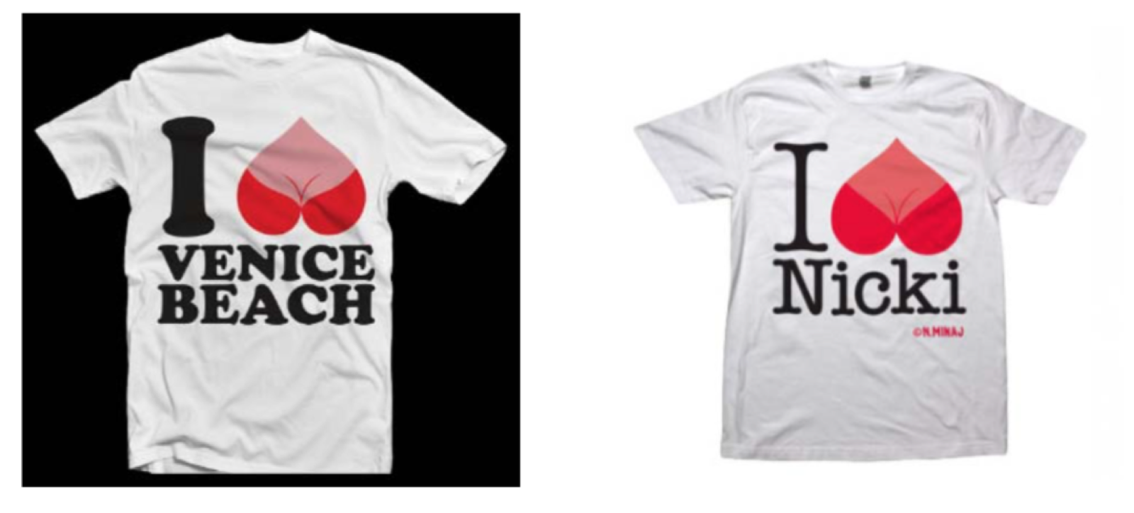 Simon's tee (left) & Minaj/Universal's merch (right)