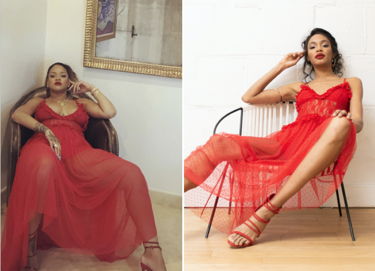 A photo from Rihanna's Instagram (left) & Choosy's version (right)