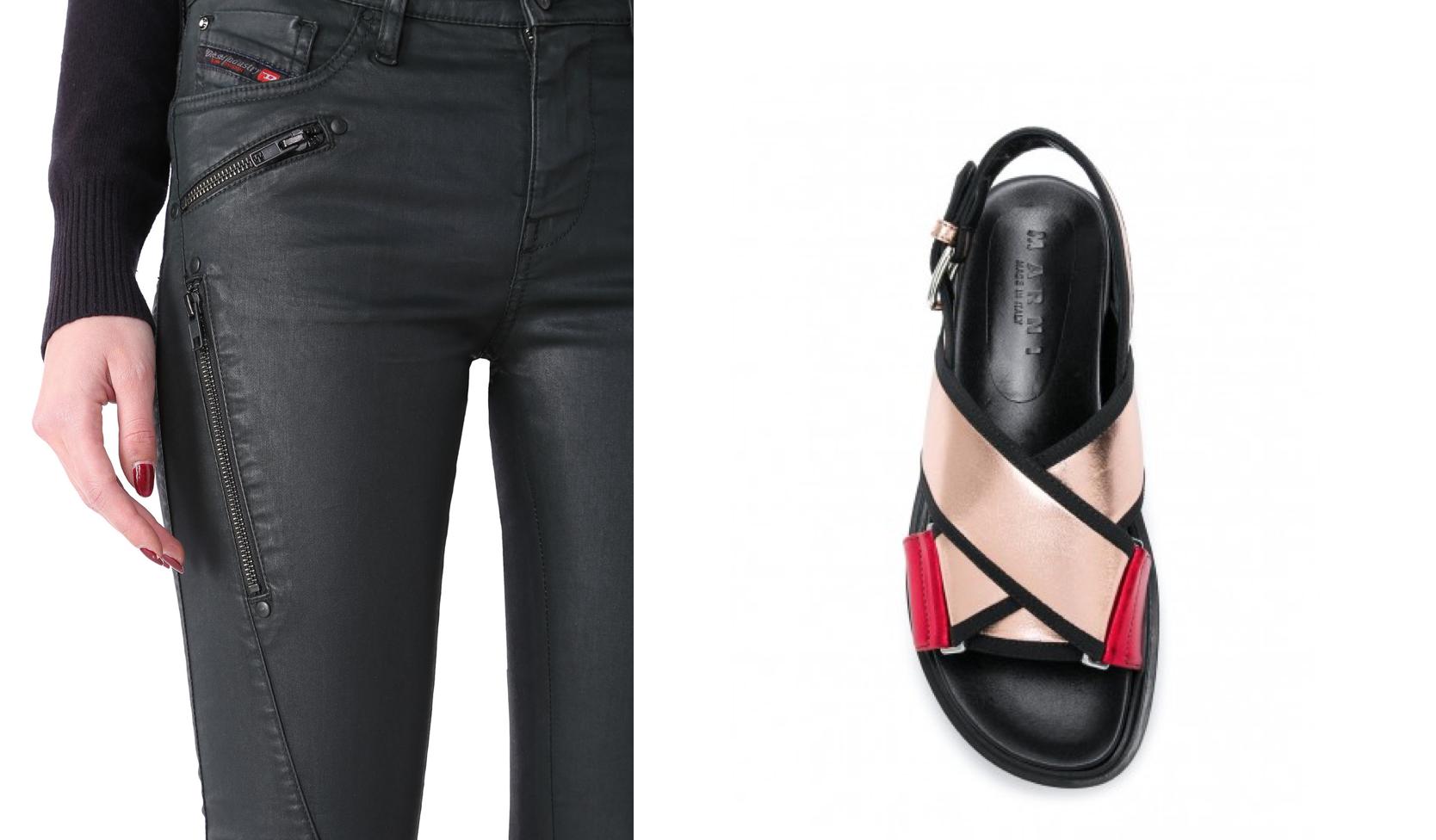 Diesel's Skinzee-SP skinny jeans (left) &Marni's Fussbett sandals (right)
