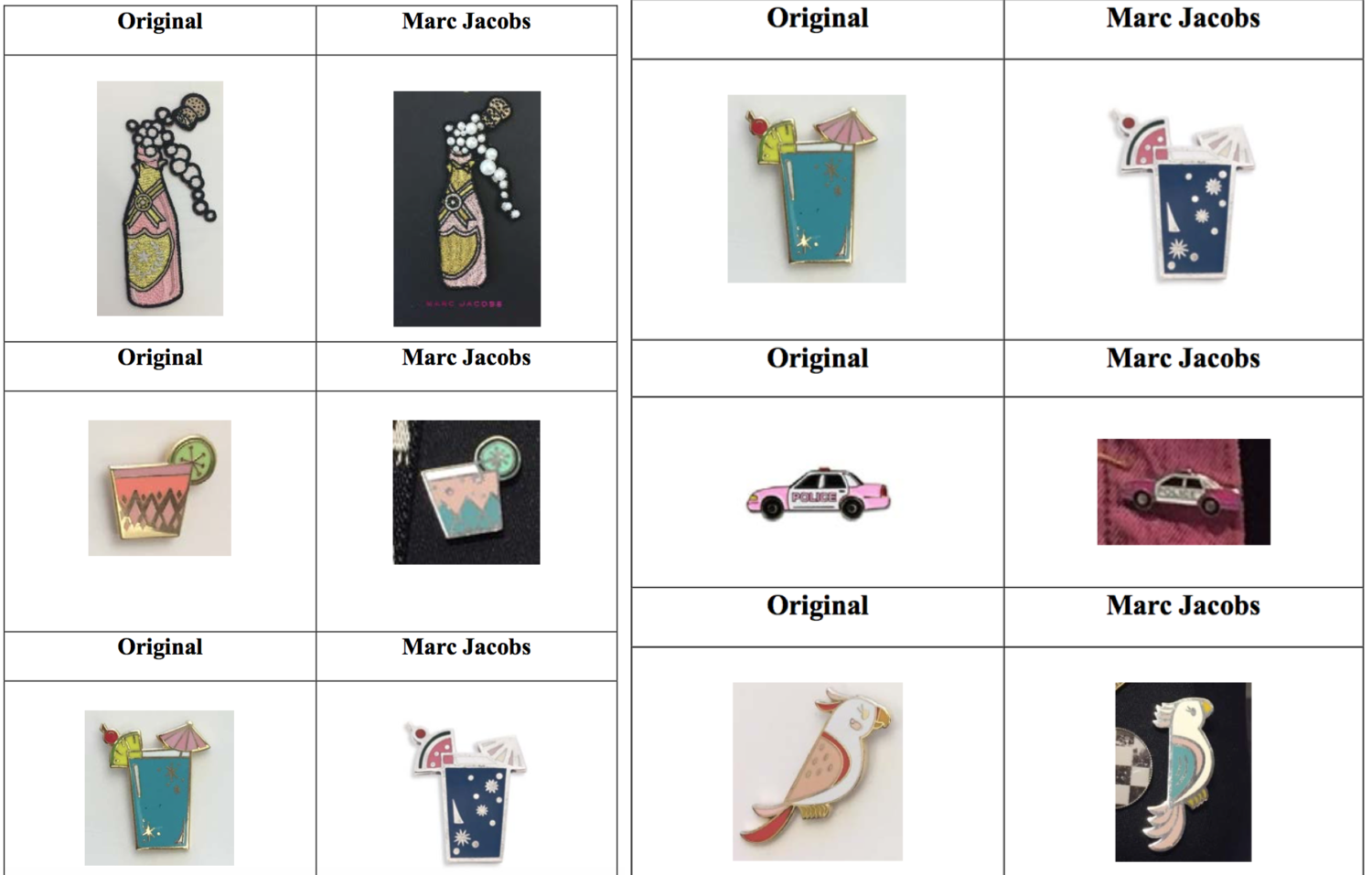 The artists' designs (left) & Marc Jacobs' allegedly infringing versions (right)