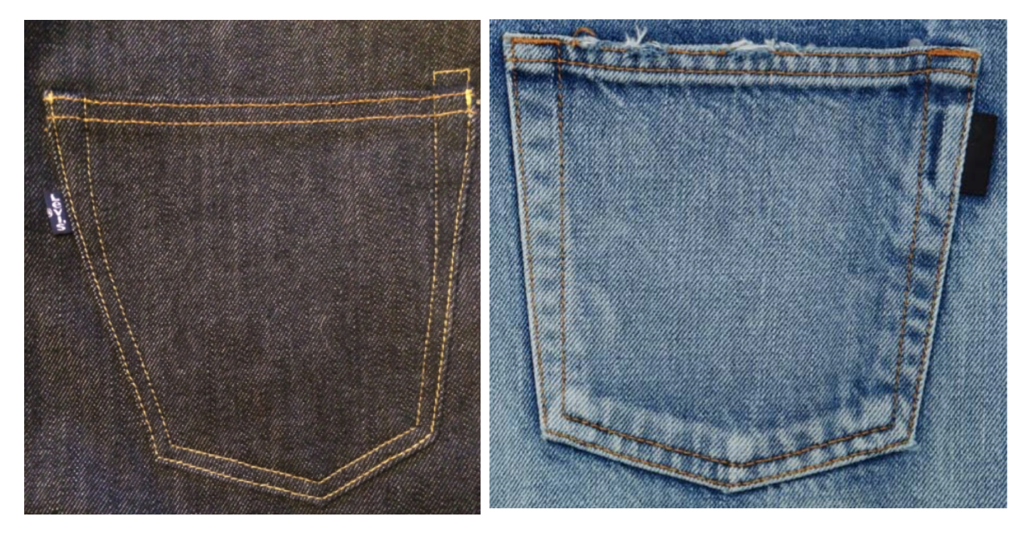Levi's pocket tab (left) & YSL's pocket tab (right)