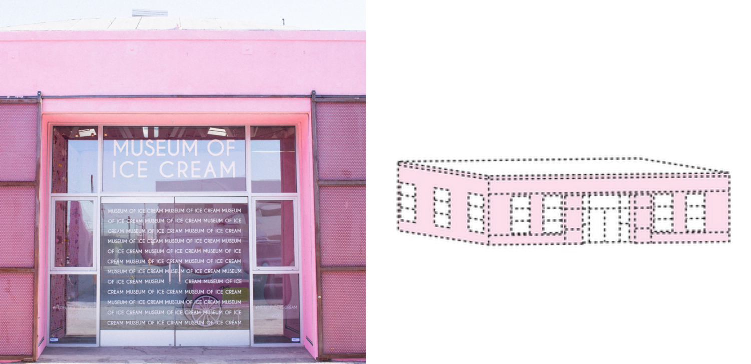 One of the Museum's outposts (left) & 1 AND 8 Inc.'s trademark drawing (right)