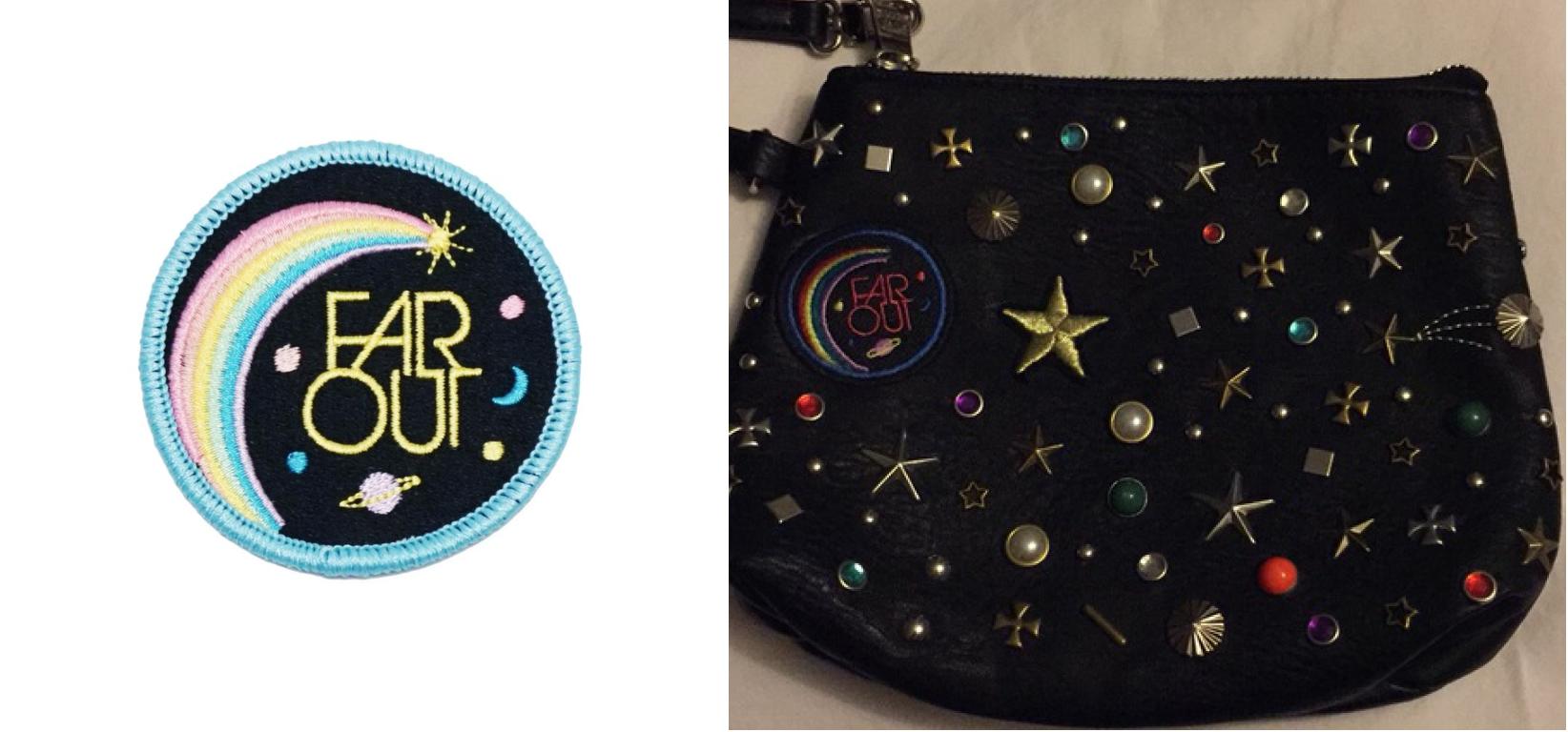 Lucky Horse's patch (left) & Steve Madden's bag (right)