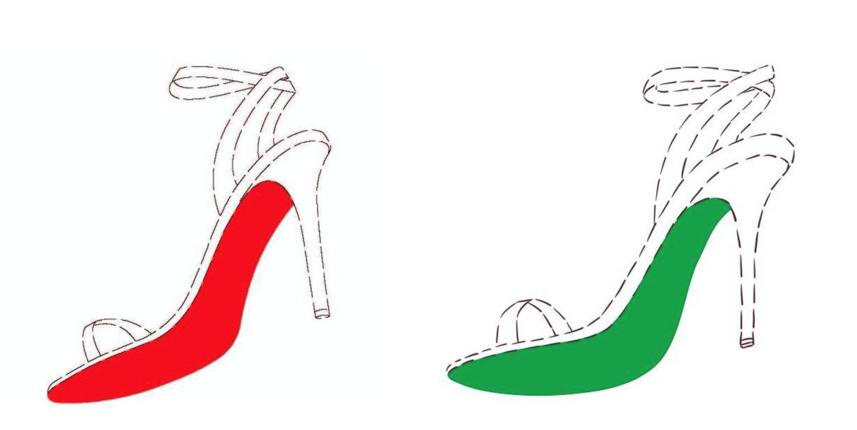 Louboutin's trademark drawing (left) & Bendolph's trademark drawing (right)