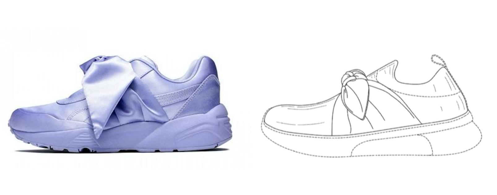 Fenty x Puma's Bow sneaker (left) & Skechers Bow sneaker drawing (right)