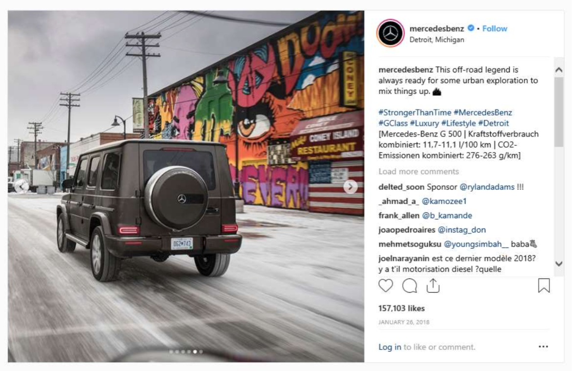 Mercedes' Instagram post featuring Bombardier's mural
