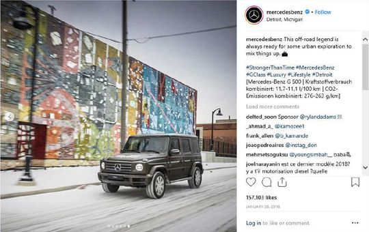 Mercedes' Instagram post featuring Lewis' mural