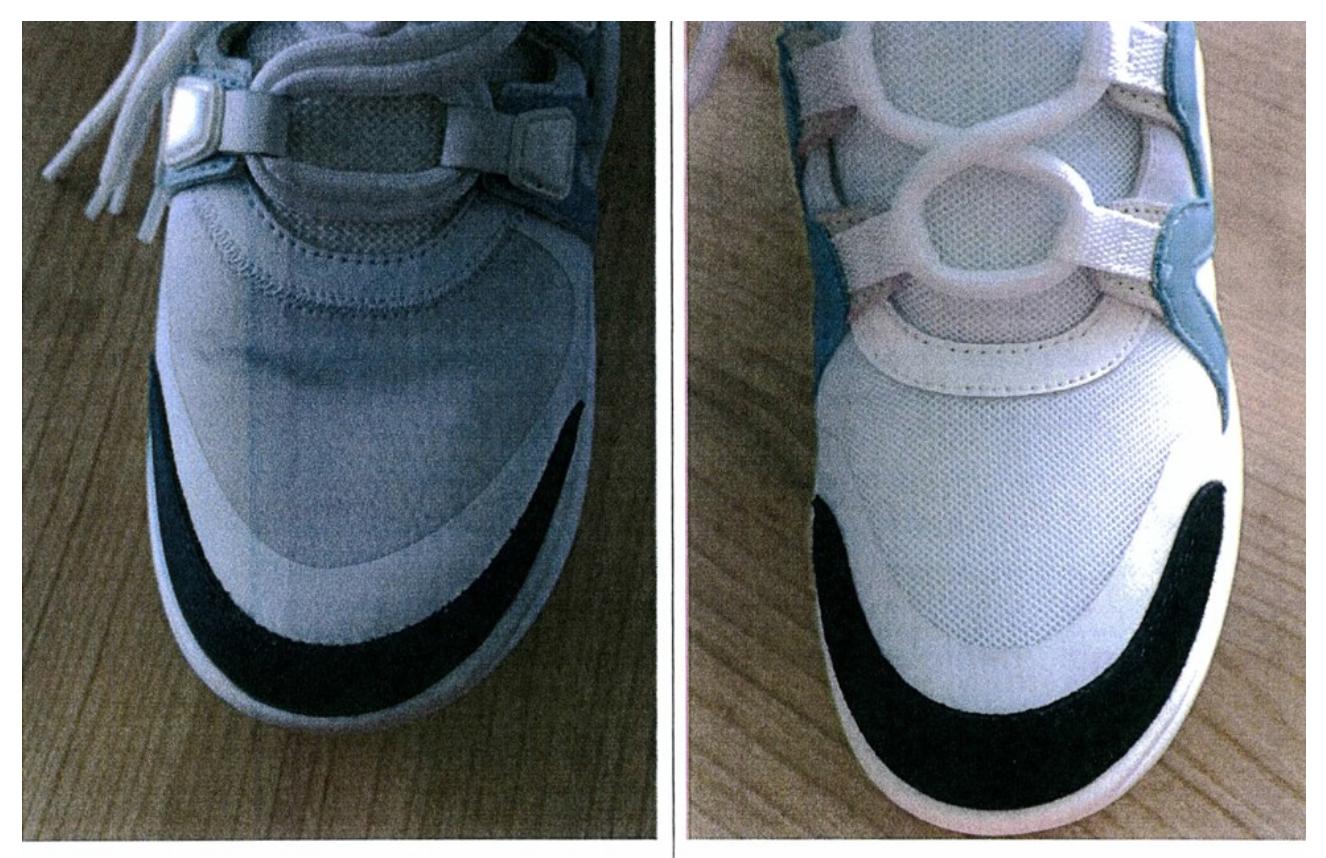 Louis Vuitton's sneaker (Left) & Belle's version (right)