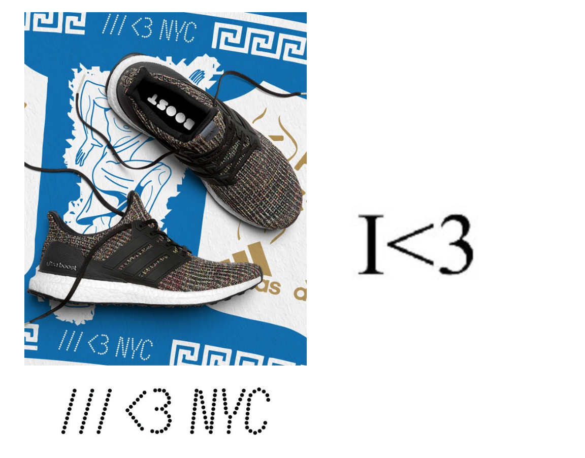 Part of adidas' advertising (left) & Ingrisano's trademark drawing (right)