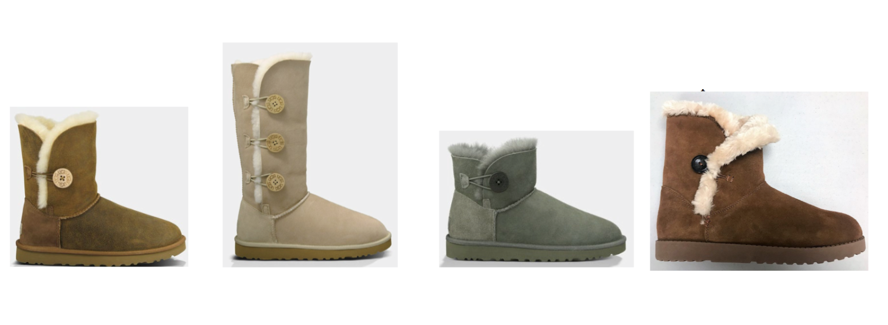 UGG's Bailey Button boots (left) & Target/Iconix's boot (far right)