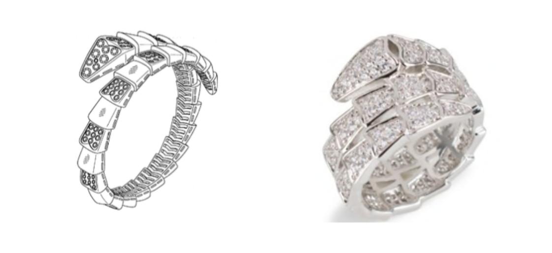 Bulgari's Serpenti design patent (left) & KJL's right (right)