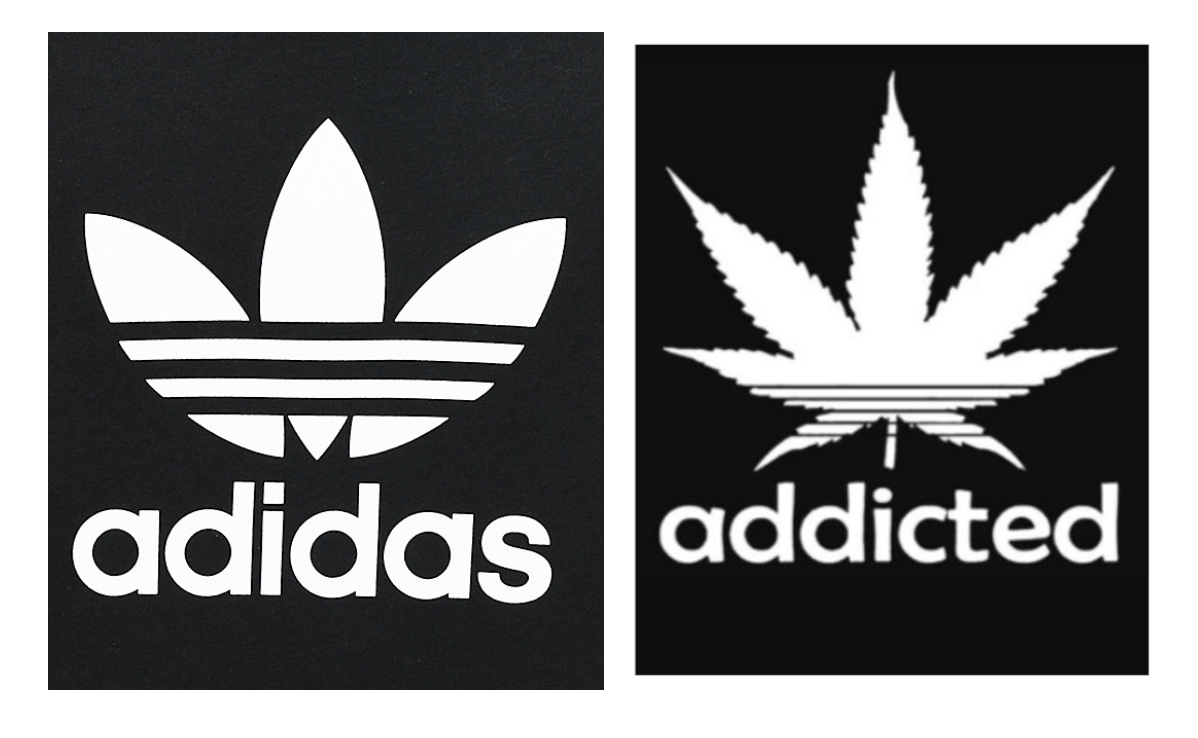 adidas' Trefoil logo (left) & Addicted Original's logo (right)