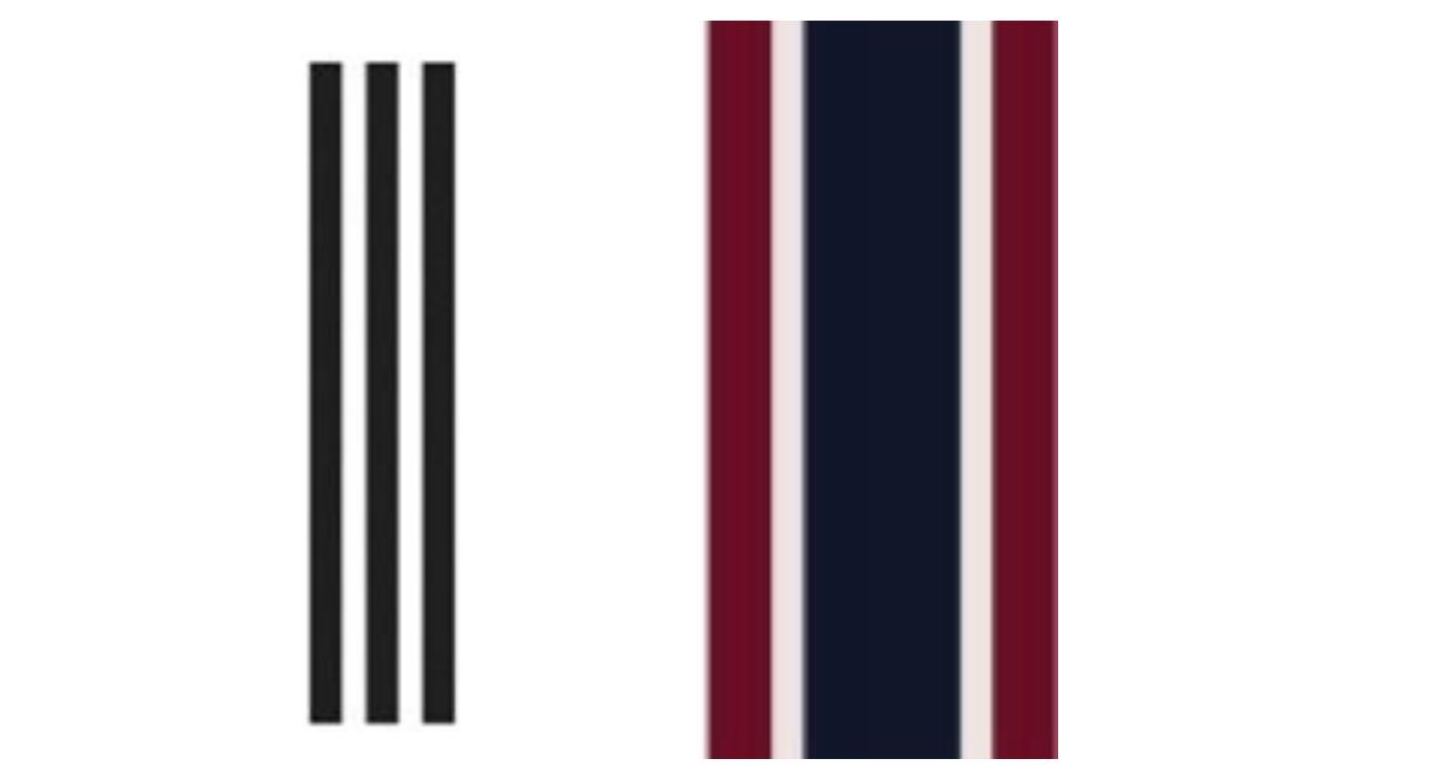 adidas' 3-stripe trademark (left) & J. Crew's 5-stripe mark (right)