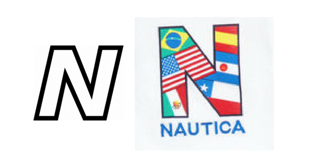 "New Balance's stylized ""N"" with contrast (left) & Nautica's ""N"" (right)"