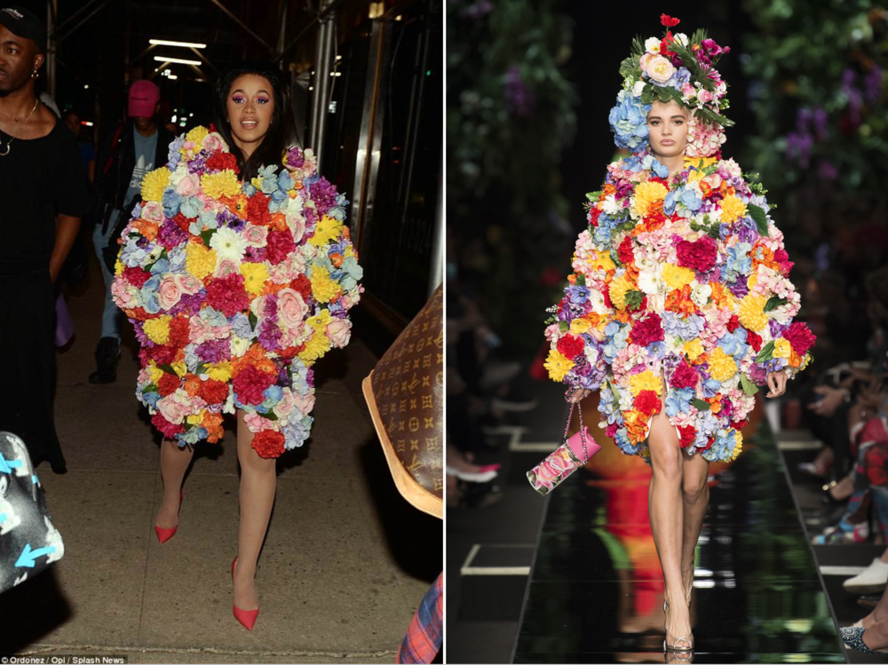 Splash News photo (left) & Moschinos jacket design (right)