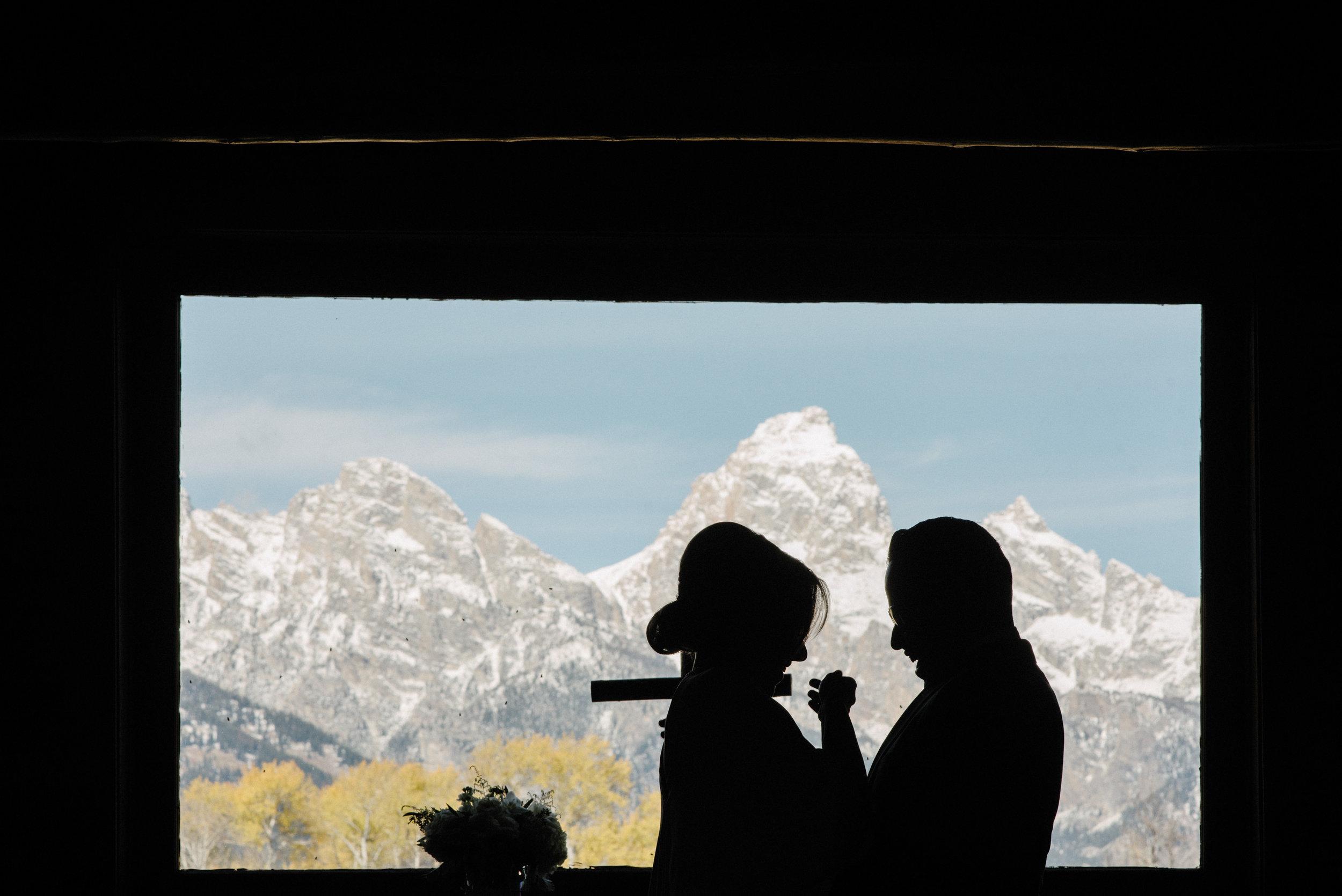 Indoor Wedding beneath Grand Teton National Park