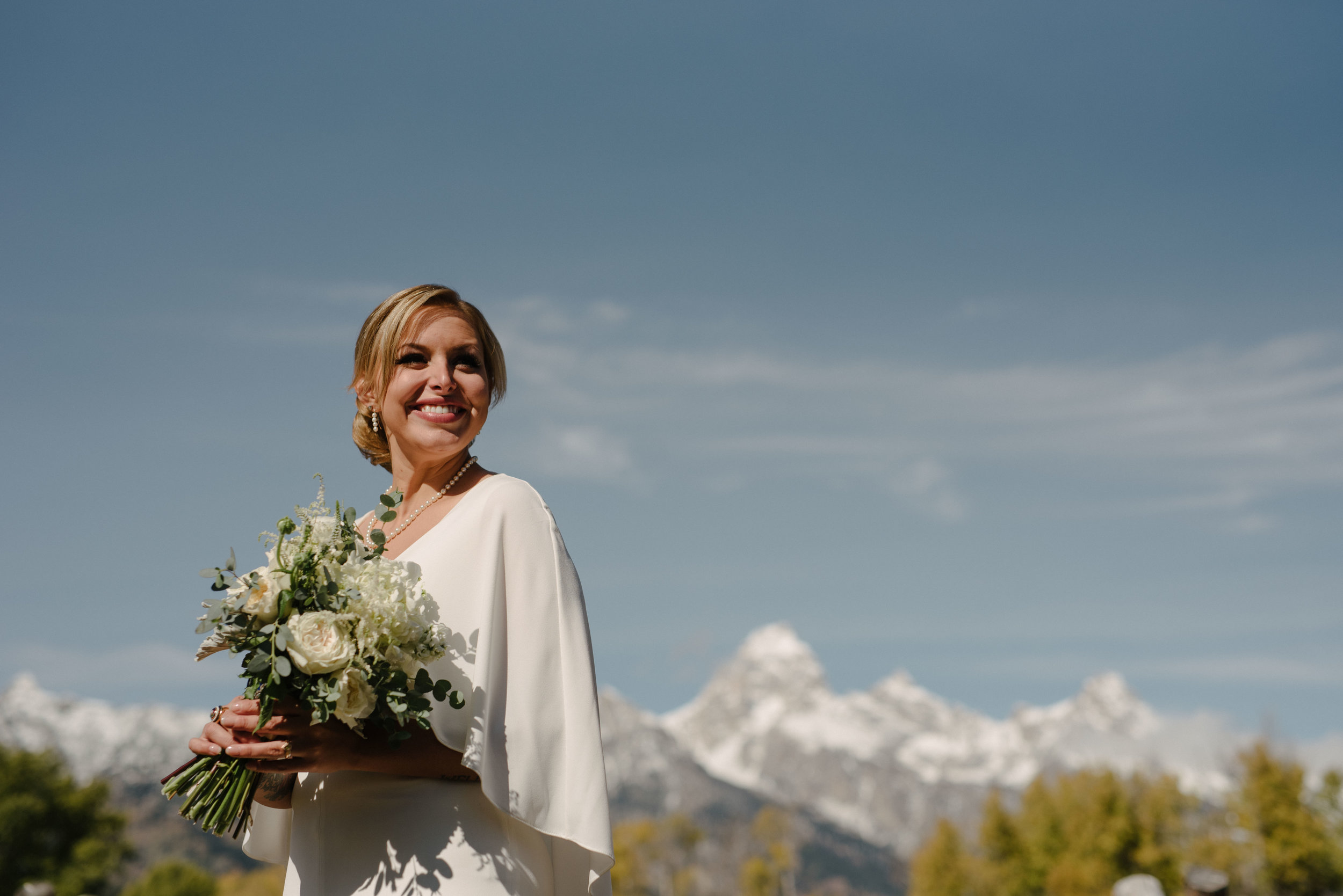 Ethereal and Excited Bride, Jackson Hole Wedding