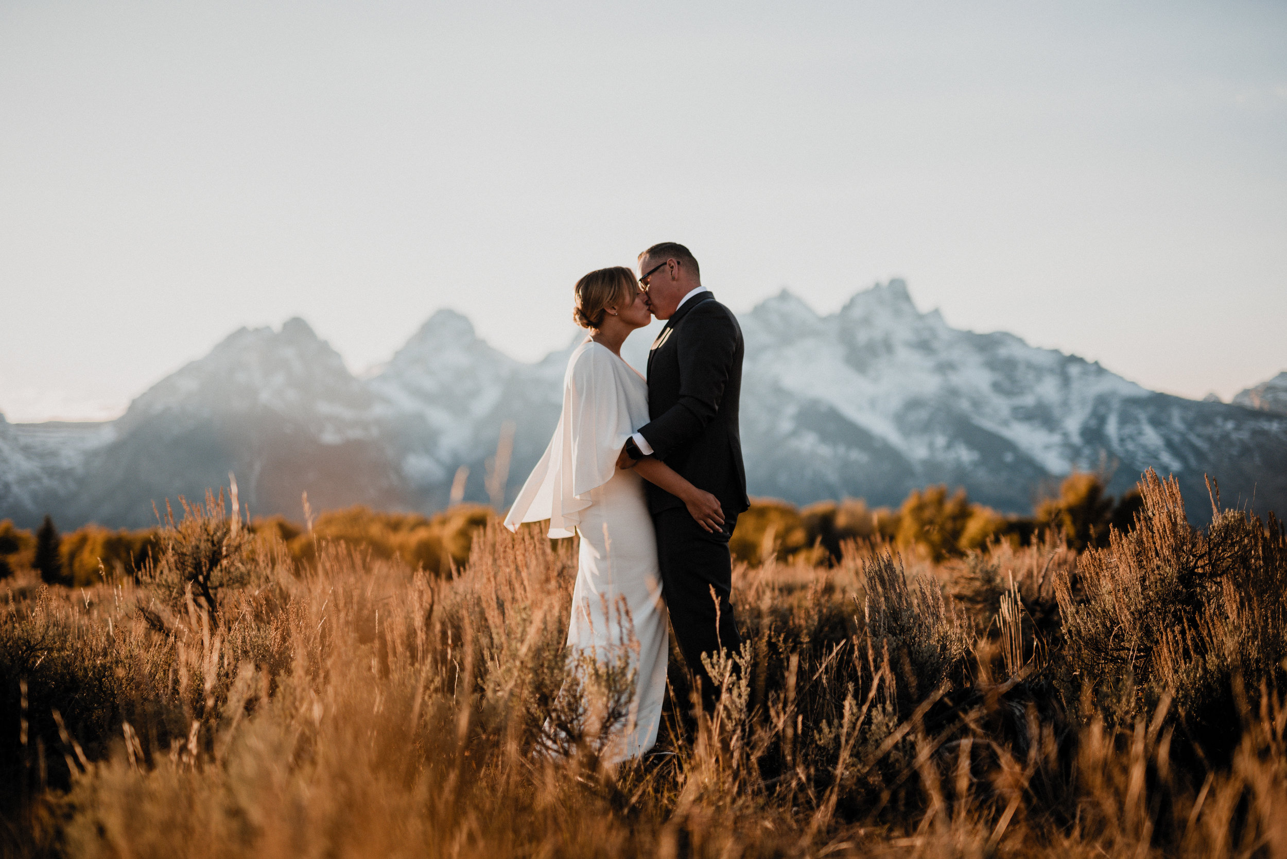 Jackson Hole Wyoming Wedding Photographer, Intimate Lovers underneath Grand Teton National Park