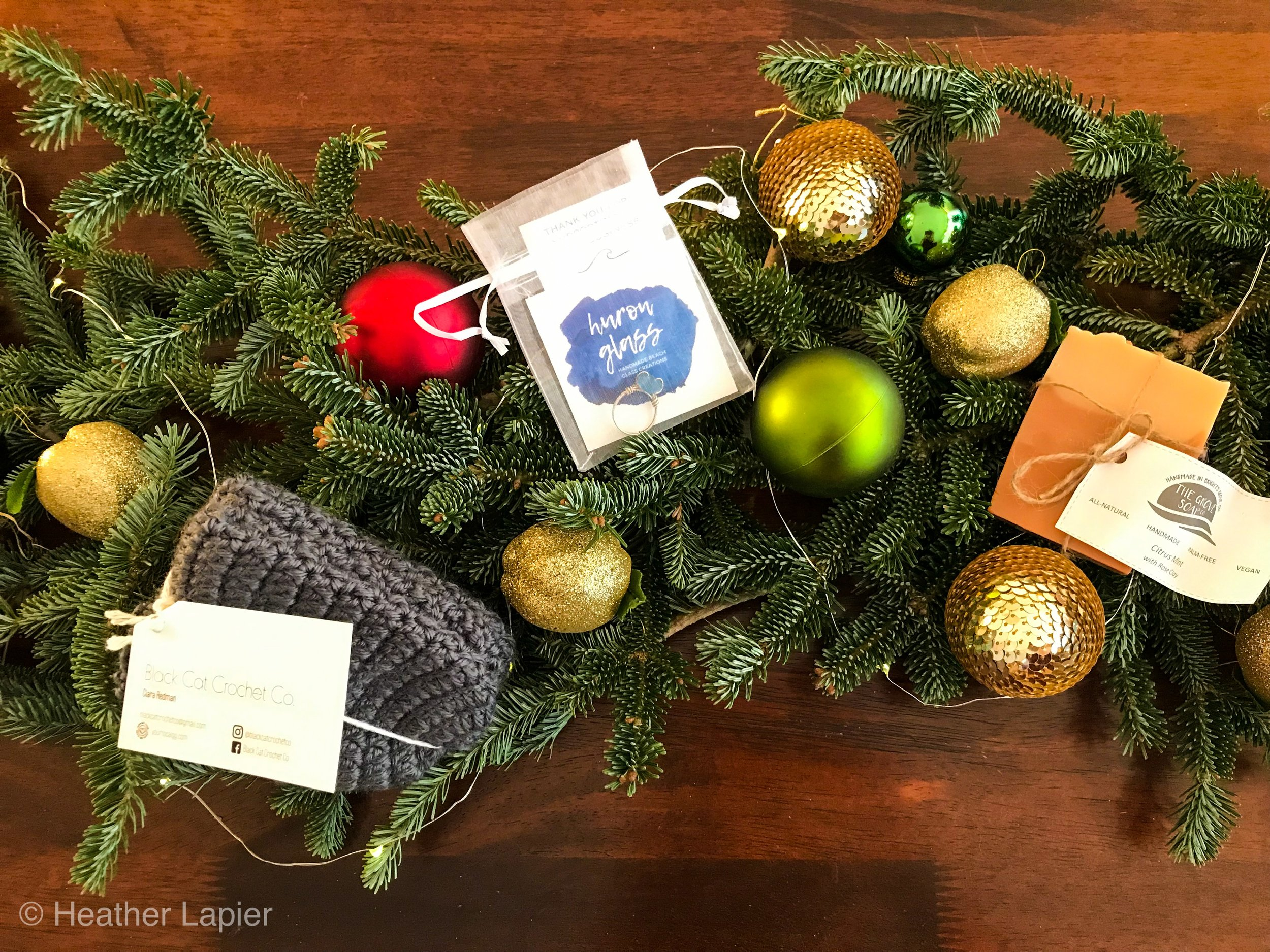 BLACK CAT CROCHET SLIPPERS  $25 grey hand crocheted slippers to keep those toes warm!   THE GROVE SOAP CO. YLGG  Citrus Mint Soap $7.50 exclusive scent handmade vegan all natural soap.  Win this trio of gifts above by simply subscribing to my email newsletter below, contest closes on Monday Dec 10.