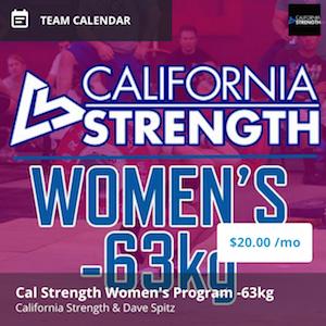california strength womens program -63kg