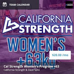 california strength womens program +63kg
