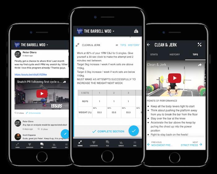 screenshots of the trainheroic mobile application