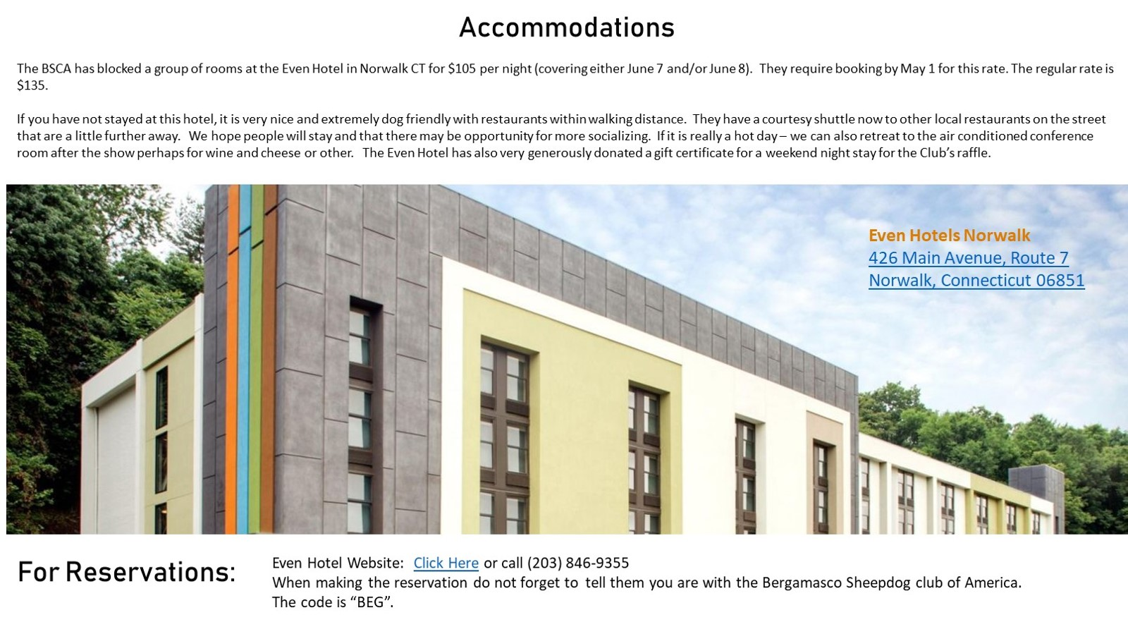 Accommodations - Click Here for Details