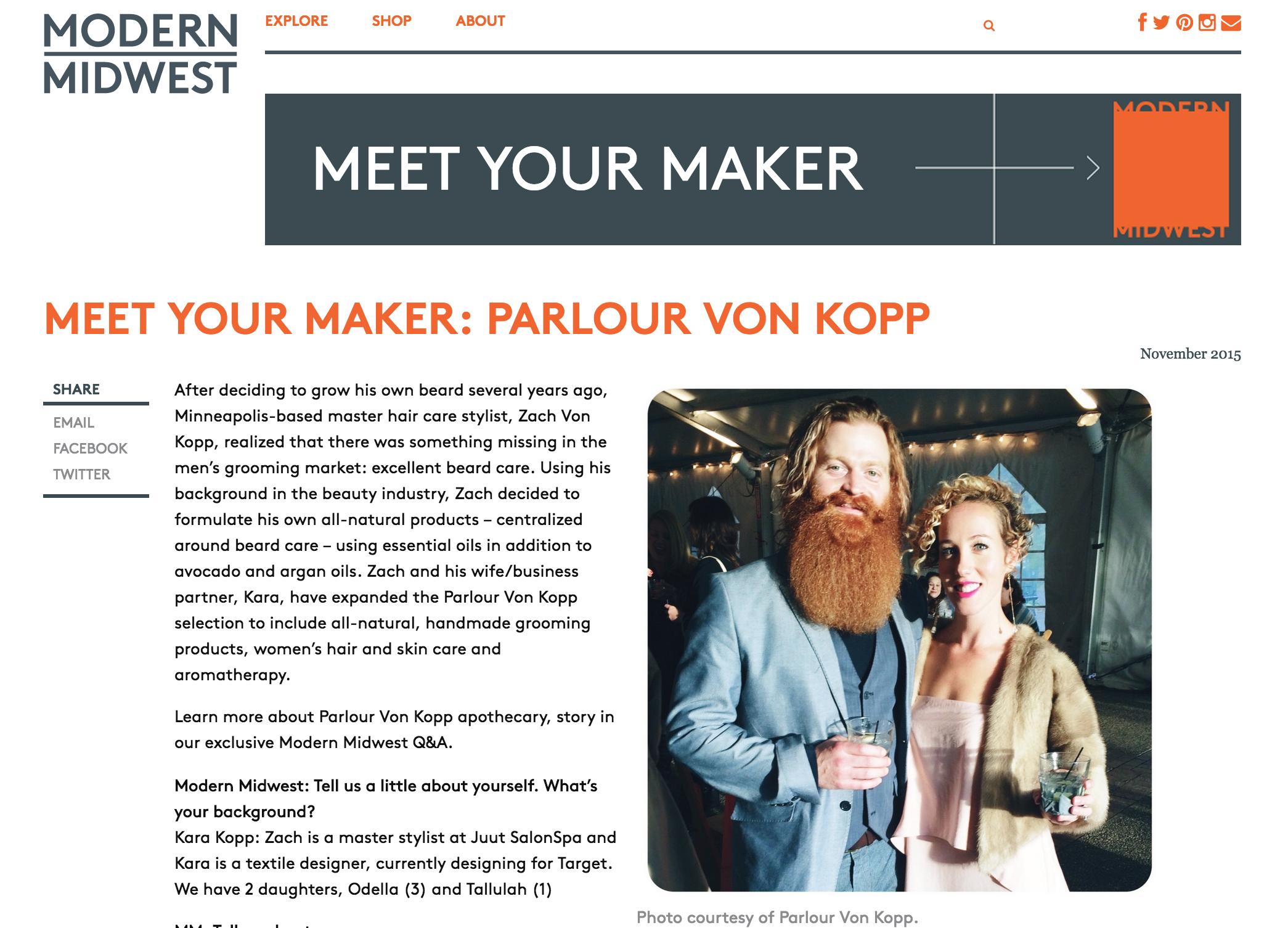 Parlour Von Kopp Meet Your Maker Modern Midwest
