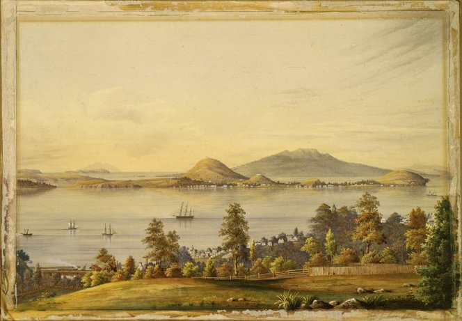 Alfred Sharpe's 1877 painting Devonport and the Waitemata Harbour from the Domain (Ref: C-126-001 Alexander Turnbull Library, Wellington http://natlib.govt.records/22825399