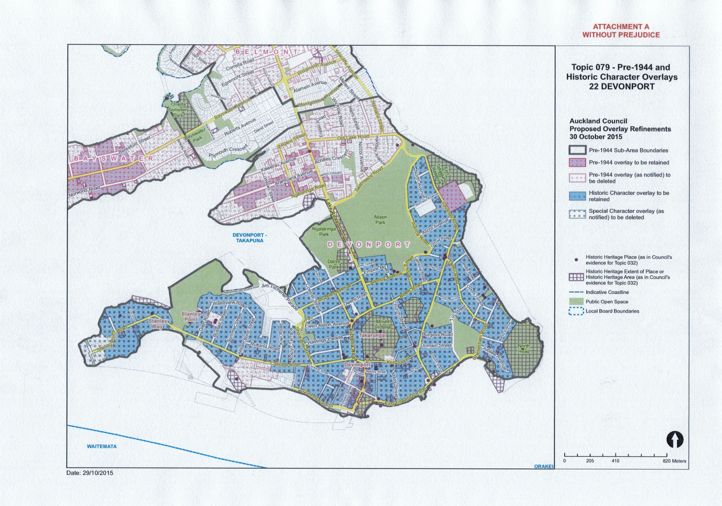PAUP - Revised maps of heritage overlays Devonport. Blue colour denotes Historic Character overlay to be retained. Mauve denotes Pre-1944 overlay to be retained.