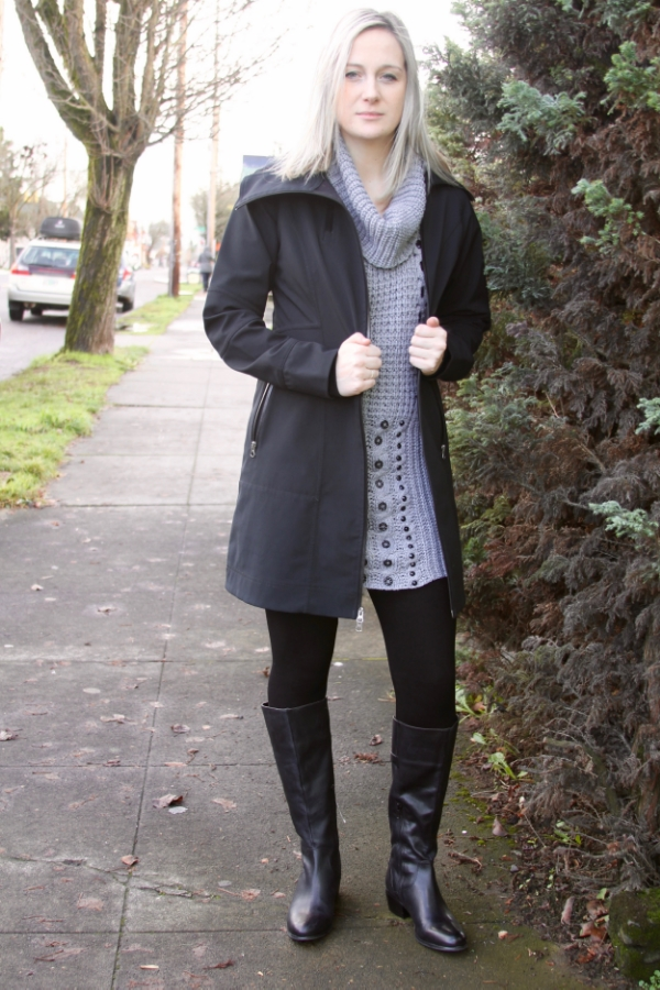 Winter coat, size small, Columbia sportswear, $49.00. Neck sweater/dress, size medium, Romeo & Juliet, $34.99. Black leggings, m. Rena, $35. Boots size 8.5, arturochiang, $60.