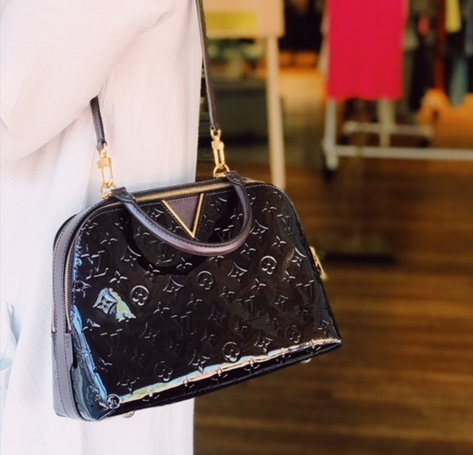 This stunning Melrose handbag by Louis Vuitton came in this week. Perfect example of current luxury that can hold value. This bag was purchased 2 years ago for $2500 (we have the original receipt.) We have it priced at $1590. There is a tiny white mark on the bottom; if that was not there we would be able to sell at $1790. There is some LV that will fly out the door. This is a specialty bag and not an everyday bag and will take the right customer.