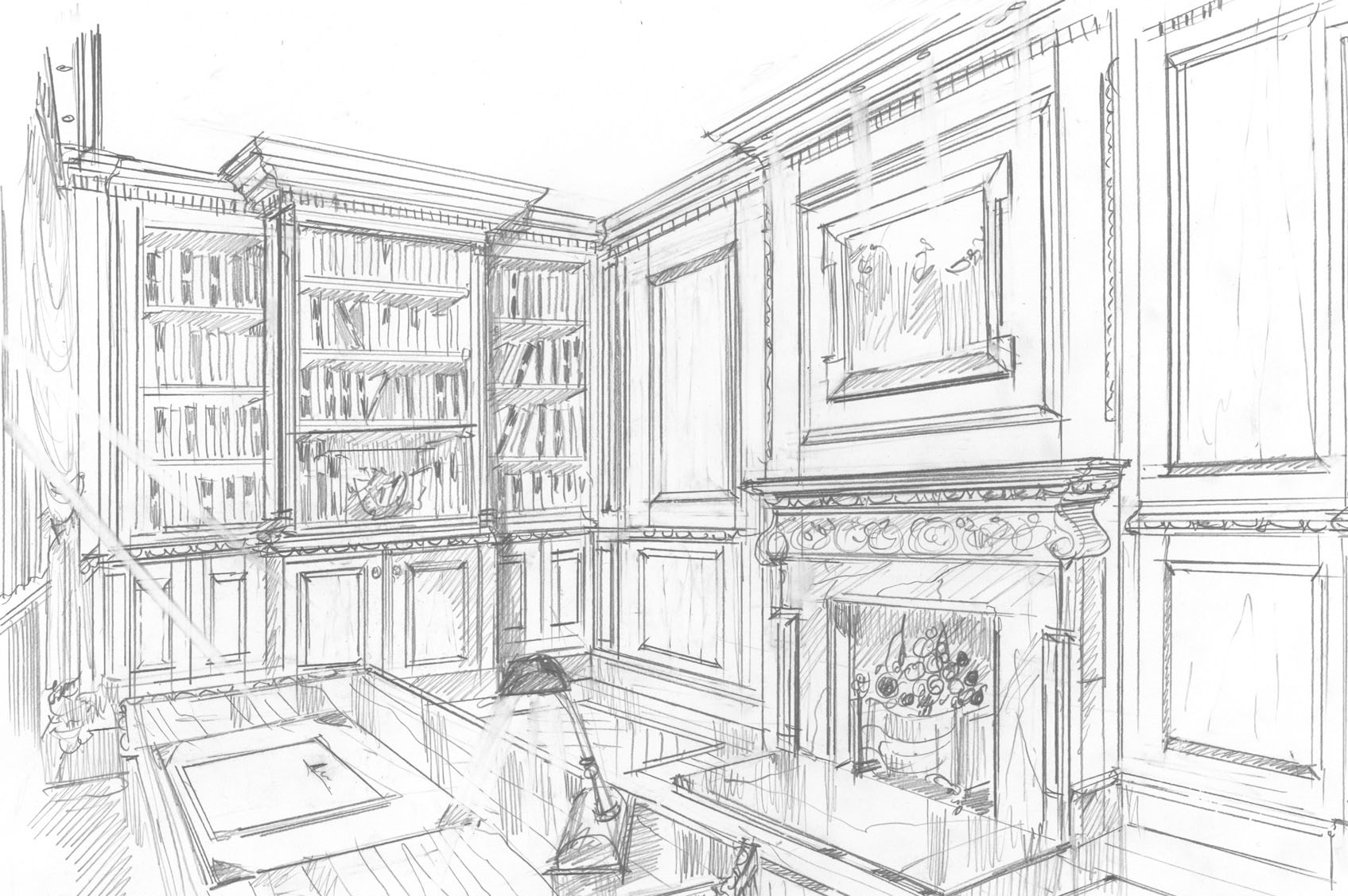 Period Joinery and Interiors panelled library skech